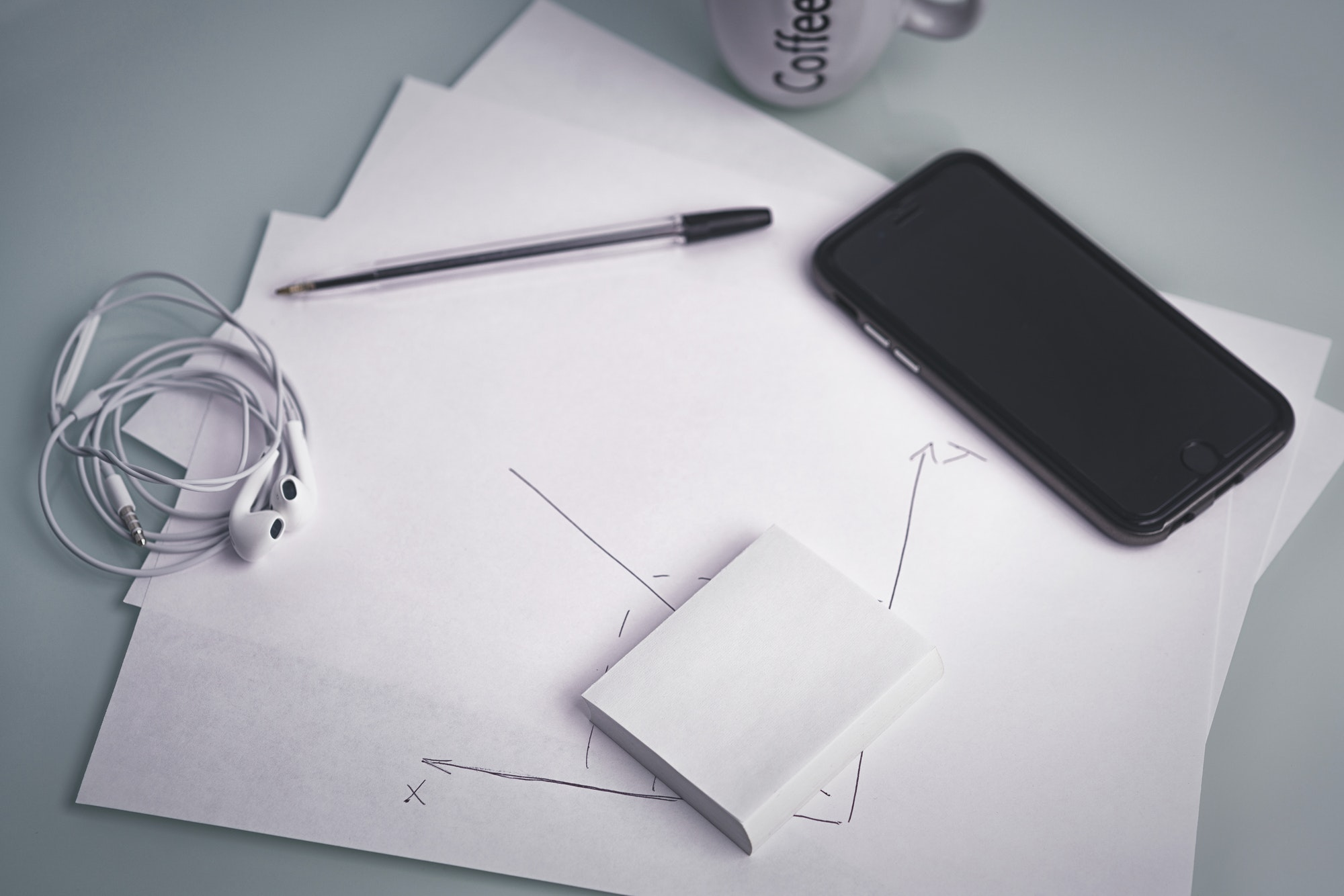 phone and pen, a core set of hipster designer's workplace
